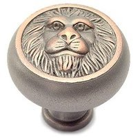 "Classic Brass - St. Georges - Nickel Copper Lion Head Knob 1 1/2"" ( 38mm )"