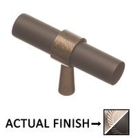 "Colonial Bronze - Split Finish - 2"" T Knob In Nickel Stainless And Nickel Stainless"