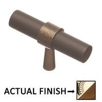 "Colonial Bronze - Split Finish - 2"" T Knob In Polished Brass And Oil Rubbed Bronze"