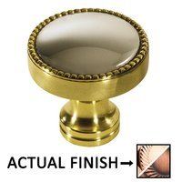 "Colonial Bronze - Split Finish - 1 1/4"" Knob In Polished Copper And Antique Copper"