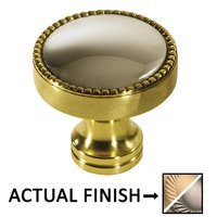"Colonial Bronze - Split Finish - 1 1/4"" Knob In Matte Satin Brass And Pewter"