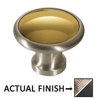 "Colonial Bronze - Split Finish - 1 1/4"" Diameter Knob In Matte Satin Nickel And Polished Nickel"