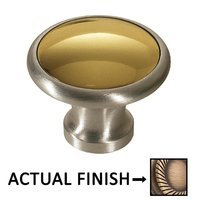 "Colonial Bronze - Split Finish - 1 1/4"" Diameter Knob In Matte Antique Brass And Satin Chrome"