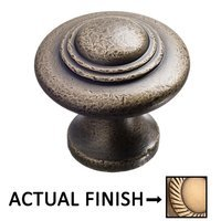"Colonial Bronze - Antimicrobial Agion Knobs - 1 3/8"" Diameter Medium Button Knob in Satin Brass"