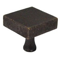"Colonial Bronze - Quickship - Quick Ship Square Knob 1 1/4"" in Distressed Oil Rubbed Bronze"