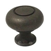"Colonial Bronze - Quickship - Quick Ship Distressed Oil Rubbed Bronze Knob Solid Brass 1 1/4"" ( 32mm )"