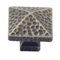 "Classic Brass - Arts & Crafts - 1 1/4"" Square Pyramid Knob in Aged Silver"