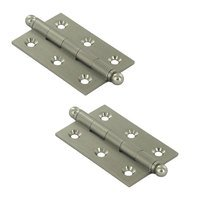 "Deltana Hardware - Solid Brass Cabinet Hinges - Solid Brass 2 1/2"" x 1 11/16"" Mortise Cabinet Hinge with Ball Tips (Sold as a Pair) in Satin Nickel"