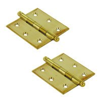 "Deltana Hardware - Solid Brass Cabinet Hinges - Solid Brass 2 1/2"" x 2 1/2"" Mortise Cabinet Hinge with Ball Tips (Sold as a Pair) in PVD Brass"