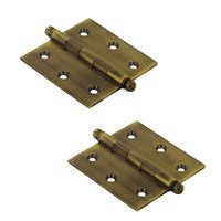 "Deltana Hardware - Solid Brass Cabinet Hinges - Solid Brass 2 1/2"" x 2 1/2"" Mortise Cabinet Hinge with Ball Tips (Sold as a Pair) in Antique Brass"
