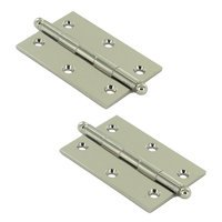 "Deltana Hardware - Solid Brass Cabinet Hinges - Solid Brass 3"" x 2"" Mortise Cabinet Hinge with Ball Tips (Sold as a Pair) in Polished Nickel"
