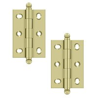"Deltana Hardware - Solid Brass Cabinet Hinges - Solid Brass 2 1/2"" x 1 11/16"" Adjustable Cabinet Hinge with Ball Tips (Sold as a Pair) in Polished Nickel"