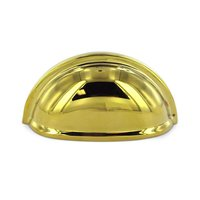 "Deltana Hardware - Solid Brass Cup Pulls - Solid Brass 3"" Centers Oval Shell Cup Pull in PVD Brass"