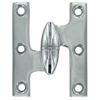 "Deltana Hardware - Solid Brass Olive Knuckle Hinges - Solid Brass 2 1/2"" x 2"" Left Handed Olive Knuckle Hinge (Sold Individually) in Chrome"