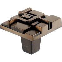 "Du Verre Hardware - Die-Cast Aluminum ( Offset ) by Erin Adams - 1 1/2"" Square Knob in Antique Brass"