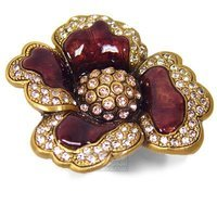 "Edgar Berebi - Chartres - 2 1/8"" (54mm) Chartres Knob Red Mahogany with Light Peach and Silk Swarovski Crystal in Museum Gold"