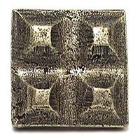 Emenee - Hammered Metal - Sculpted Square Knob in Antique Bright Silver