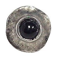 Emenee - Geometry - Center Black Stone Circle Knob in Antique Matte Silver