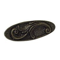 Emenee - Floral - Elegant Oval Pull in Antique Bright Silver