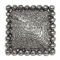 Emenee - Charisma - Bead Edge Texture Large Square Knob in Antique Bright Silver
