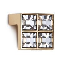 "Giusti Hardware - Linea -Luxury - Swarovski 5/8"" Centers Handle in Gold Plated with Crystal Transparent"