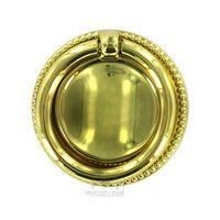 "Hafele Hardware - Polished Brass - 1 3/4"" Diameter Ring Pull in Brass Polished"