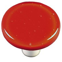 "Hot Knobs - Solids - 1 1/2"" Diameter Knob in Brick Red with Aluminum base"