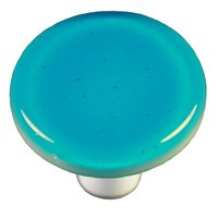 "Hot Knobs - Solids - 1 1/2"" Diameter Knob in Turquoise Blue with Aluminum base"