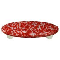 "Hot Knobs - Granite - 3"" Centers Handle in Red & White with Aluminum base"