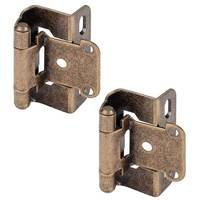 "Hardware Resources - Hinges - 1/2"" Overlay, Half Wrap 3 Hole in Burnished Brass (PAIR)"