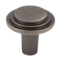 "Elements Hardware - Calloway Cabinet Hardware - 1 1/8"" Diameter Stepped Rounded Cabinet Knob in Brushed Pewter"