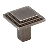 "Elements Hardware - Calloway Cabinet Hardware - 1 1/8"" Overall Length Stepped Square Cabinet Knob in Brushed Pewter"