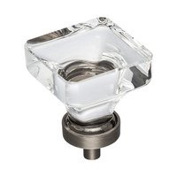 "Hardware Resources - Jeffrey Alexander Harlow Cabinet Hardware - 1-3/8"" Glass Cabinet Knob in Brushed Pewter"