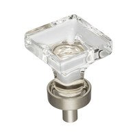 "Jeffrey Alexander - Harlow Cabinet Hardware - 1"" Glass Cabinet Knob in Satin Nickel"