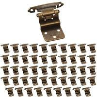 Hardware Resources - Builder Hardware - (50 PACK) 3/8 Inset Hinge in Brushed Antique Brass