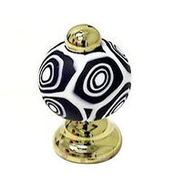Italbrass - Pullissimi - Polished Brass With Black Murano Glass 18mm Round Knob in Polished Brass With Black Murano Glass