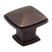 "Hardware Resources - Jeffrey Alexander Milan Cabinet Hardware - 1 3/16"" Plain Square Knob in Brushed Oil Rubbed Bronze"