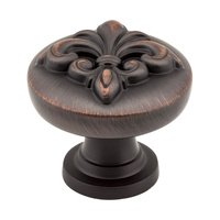 "Jeffrey Alexander - Lafayette Cabinet Hardware - 1 3/8"" Raised Fleur De Lis Knob in Brushed Oil Rubbed Bronze"