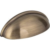 "Hardware Resources - Elements Florence Cabinet Hardware - 3"" Centers Small Cup Pull in Brushed Antique Brass"