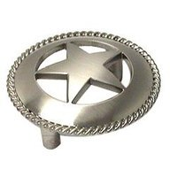 Wild Western Hardware - Nickel - Large Star Pull with Braided Edge in Satin Nickel