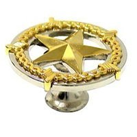 Wild Western Hardware - Two-Tone - Ornamental Star Knob in Nickel and Gold