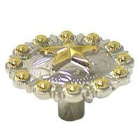 Wild Western Hardware - Two-Tone - Star Conch Knob in Nickel and Gold