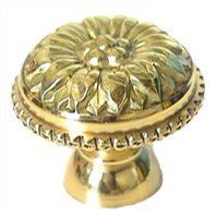 "LB Brass - Classic - Holly Flower Knob ( 1.375"" ) in Polished Brass"