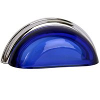 "Lews Hardware - Glass Cup Pull - 3"" (76mm) Centers Cup Pull in Transparent Cobalt/Polished Chrome"
