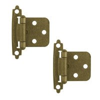 Liberty Hardware - Cabinet Accessories - Self-Closing Overlay Hinge, 2 per pkg in Brushed Antique Brass