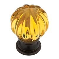 "Liberty Hardware - Design Facets - 1 1/4"" Ridge Ball Knob in Statuary Bronze and Amber"