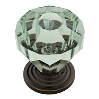 "Liberty Hardware - Design Facets - 1 1/4"" Acrylic Faceted Knob in Statuary Bronze and Celadon"