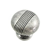 "MNG Hardware - Striped - 1 1/4"" Knob in Distressed Antique Silver"