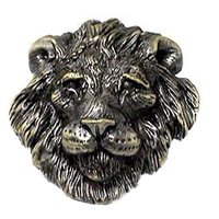 Novelty Hardware - Safari - Big 5 Lion Knob in Antique Brass