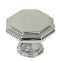 "Omnia Industries - Classic & Modern - 1 3/16"" Octagonal Knob in Polished Chrome"